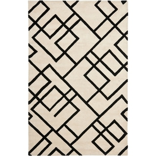 Handmade New Zealand Wool Deco Beige/ Black Rug (3'6 x 5'6')