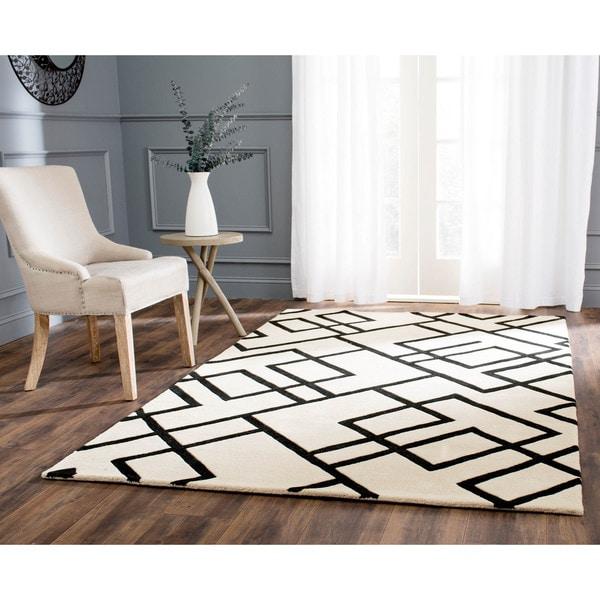 Safavieh Handmade New Zealand Wool Deco Beige/ Black Rug (5'x 8')