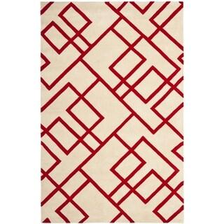 Handmade New Zealand Wool Deco Beige/ Red Rug (3'6 x 5'6')