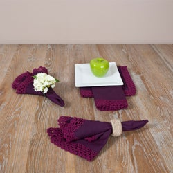 Crochet Lace Violet Napkins (Set of 4)