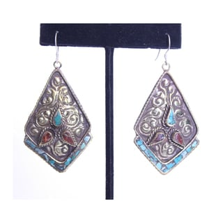 Brass and Sterling Silver Turquoise Coral Diamond Shape Earrings (Nepal)