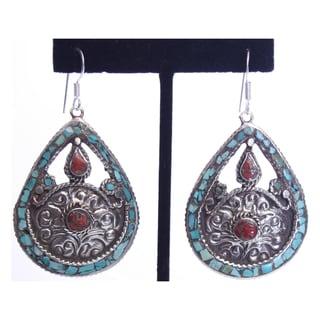 Brass and Sterling Silver Turquoise Teardrop Earrings (Nepal)