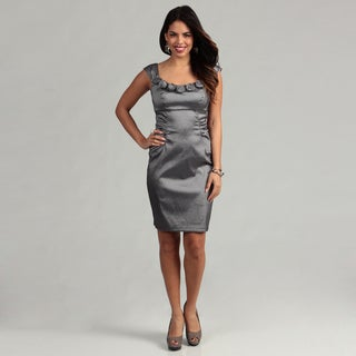 London Times Women's Gunmetal Taffeta Sheath Dress