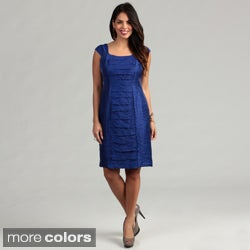 London Times Women's Shimmer Cap-sleeve Dress