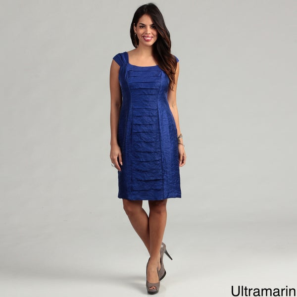 London Times Women's Shimmer Cap-sleeve Dress