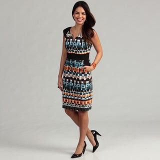 London Times Women's Printed Cap Sleeve Sheath Dress