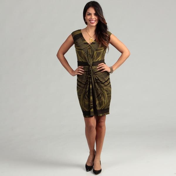 London Times Women's Black/ Olive Printed Twist-knot Dress