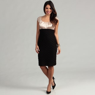 London Times Two-tone Champagne Satin/ Black Ripple Sheath Dress