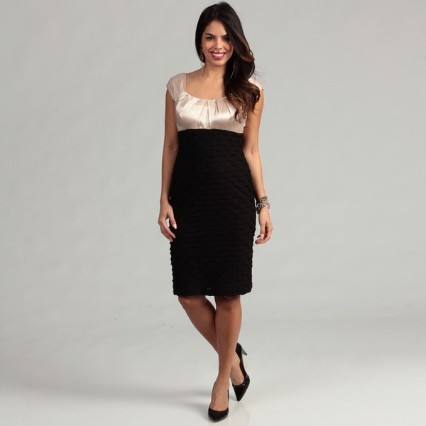 London Times Two-tone Champagne Satin/ Black Ripple Sheath Dress