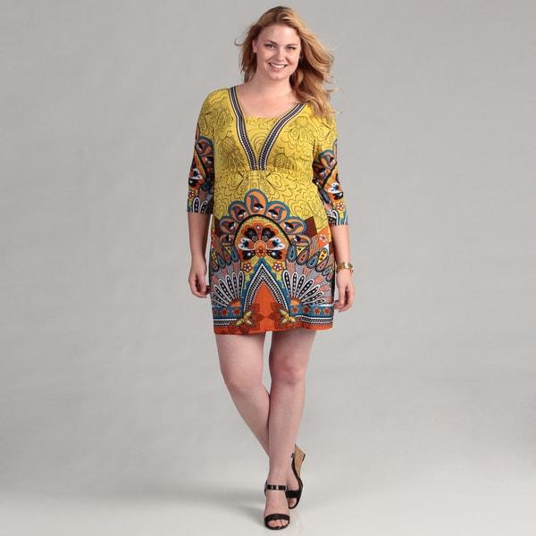 White Mark Women's Yellow/ Orange 3/4-sleeve Plus Size Dress