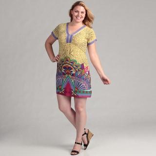 White Mark Women's Plus 'Paris' Yellow Pink Peacock Short Sleeve Dress