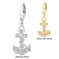 Silver Diamond Anchor Charm