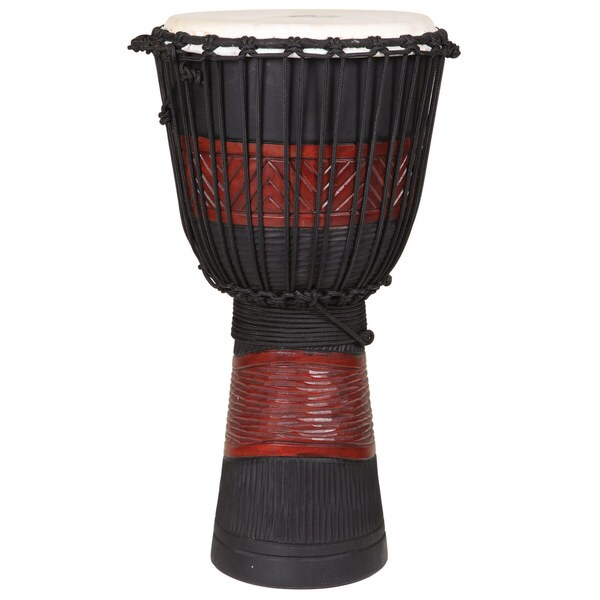 Red and Black 12-Inch Djembe Drum (Indonesia)