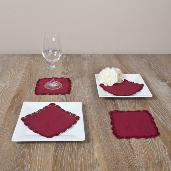 Cranberry Crochet Lace Coasters (Set of 4)