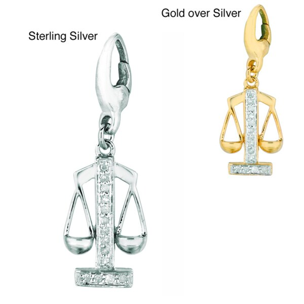 Silver Diamond Scales of Justice Charm
