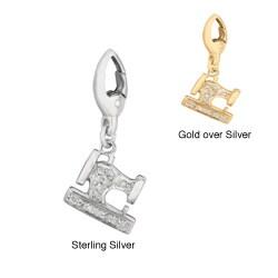 Silver Diamond Sewing Machine Charm