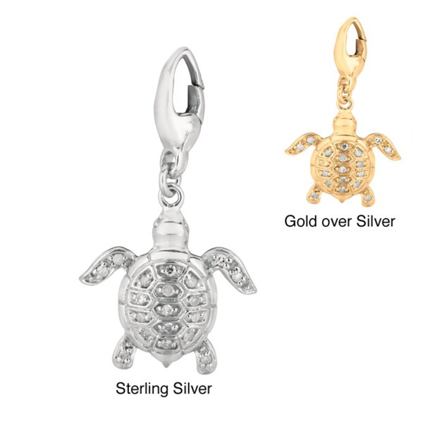 Silver Diamond Turtle Charm