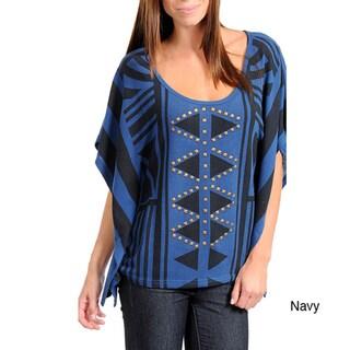 Stanzino Women's Geometric Printed and Studded Sweater Top