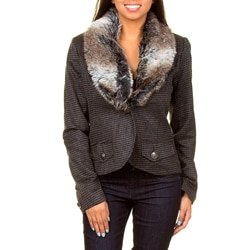 Stanzino Costa Blanca Faux Fur Collar One- Button Jacket