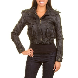 Stanzino Women's Wrinkled Cropped Faux Leather Jacket