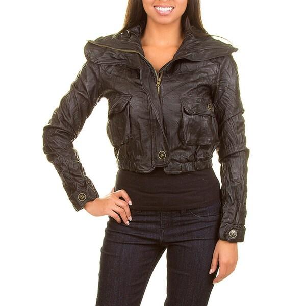 Stanzino Women's Wrinkled Cropped Faux Leather Jacket