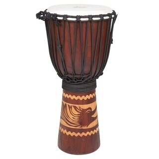 Full-size Traditional Djembe Drum with Bird Carving (Indonesia)
