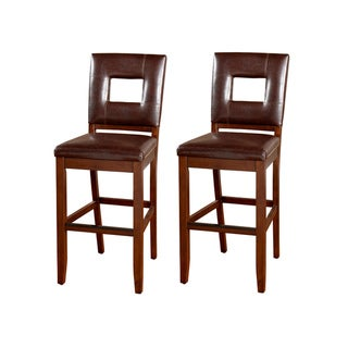 Glendale Brown Wood/ Vinyl Bar Stools (Set of 2)