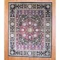 Indo Hand-knotted Farahan Black/ Burgundy Wool/ Silk Rug (8' x 10')