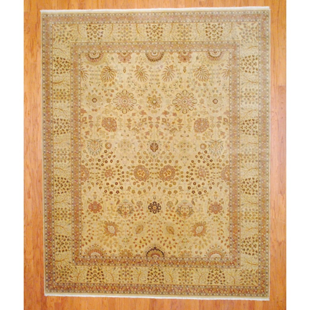 Indo Hand-knotted Tabriz Gold/ Rust Wool Rug (8' x 10')
