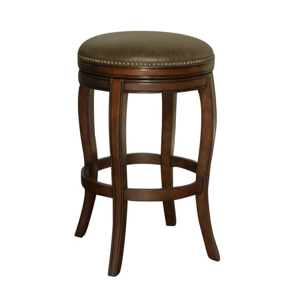 Wenden Brown Leather Swivel Bar Stool