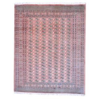 Pakistani Hand-knotted Bokhara Peach/ Black Wool Rug (8' x 10')