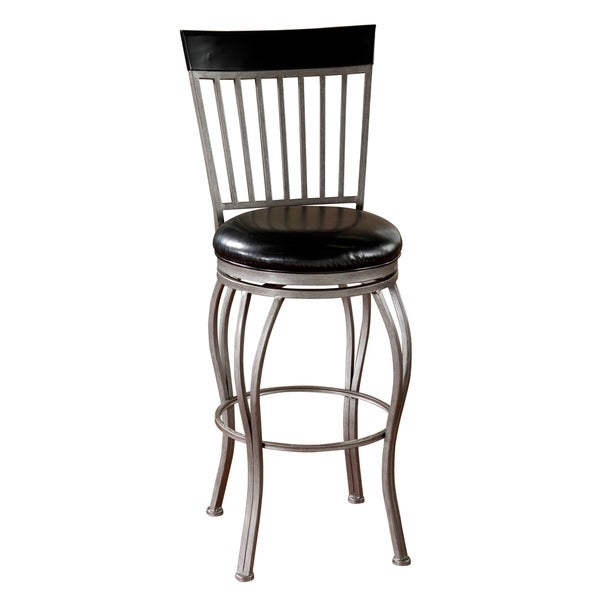 Tifton Cobalt Black Leather Swivel Counter Stool