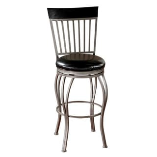 Tifton Cobalt/ Black Leather Swivel Bar Stool