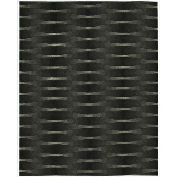 Nourison Hand-tufted Moda Black Geometric Rug (9'6 x 13'6)
