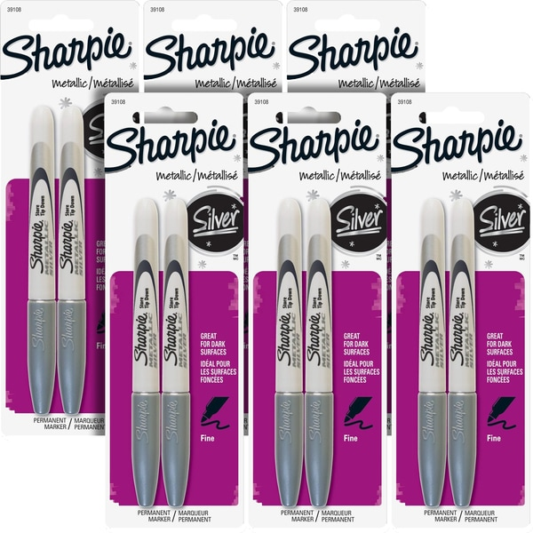 Sharpie Metallic Fine Point Silver Permanent Marker (Pack of 12)