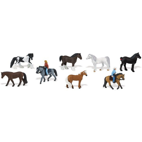 Horses & Riders Plastic Miniatures In Toobs