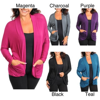 Stanzino Women's Long Sleeve Solid Plus Size Cardigan