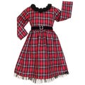 AnnLoren Girls Red Plaid Dress