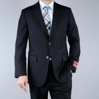 Men's Black Pinstriped 2-button Wool Suit