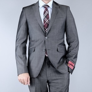 Men's EuroSlim Fit Sharkskin Grey Black 2-button Wool Suit