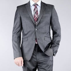 Men's Slim Fit Textured Black 2-button Wool Suit