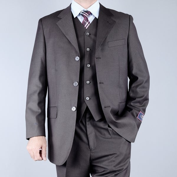 Men's Textured Brown 3-button Vested Suit
