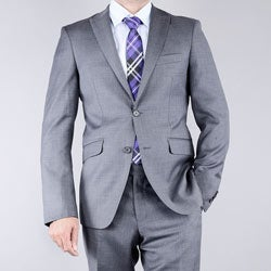Men's Textured Grey 2-button Slim-Fit Wool Suit
