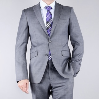 Mantoni Men's Textured Grey 2-button Slim-Fit Wool Suit