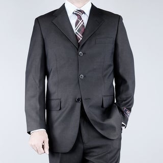 Men's Textured Black 3-button Suit