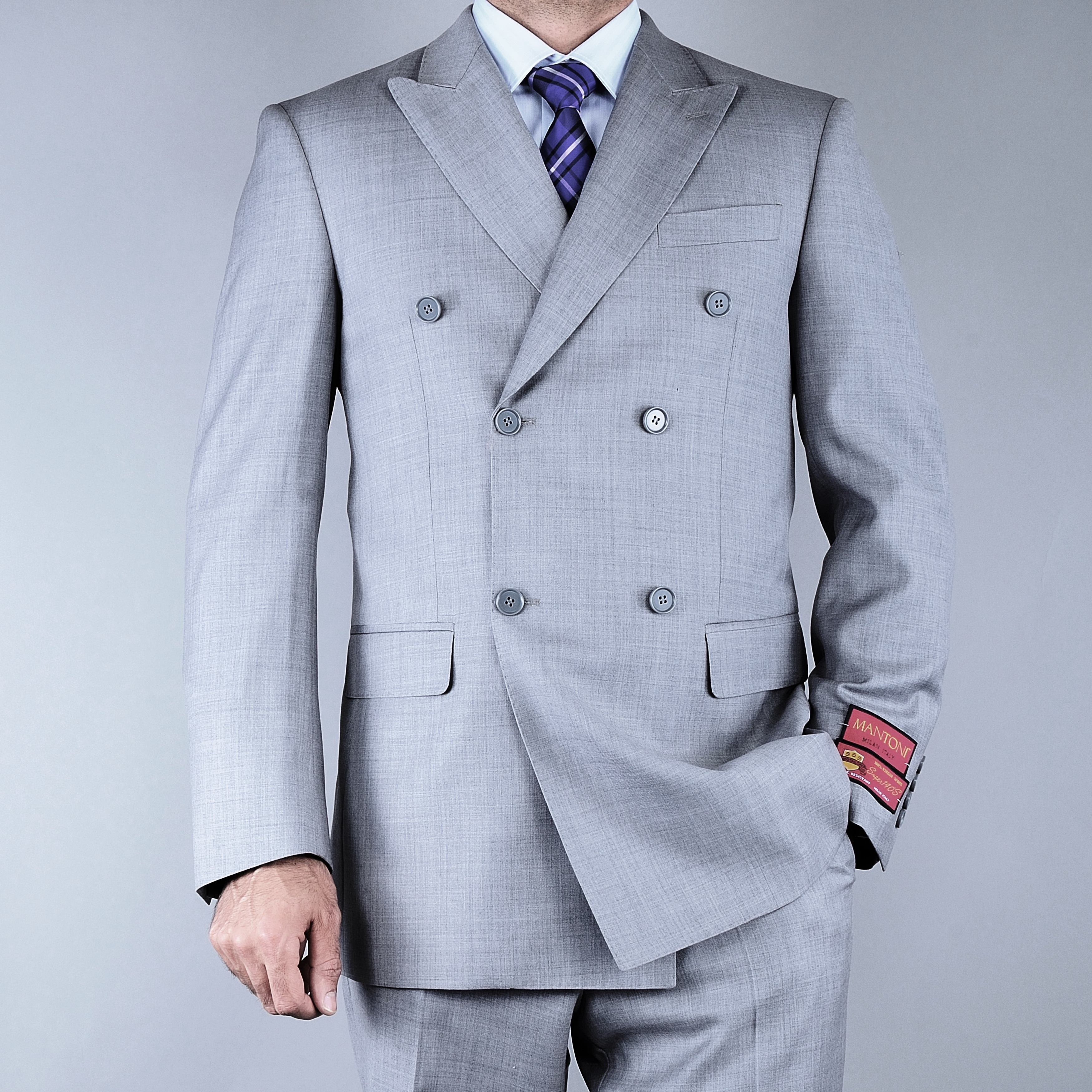 Mantoni Men's Classic Fit Textured Grey Double Breasted Wool Suit