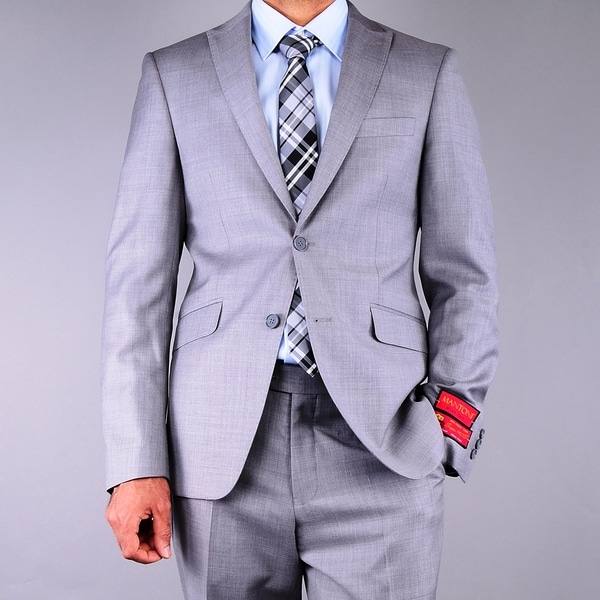 Men's Slim Fit Textured Grey 2-button Wool Suit