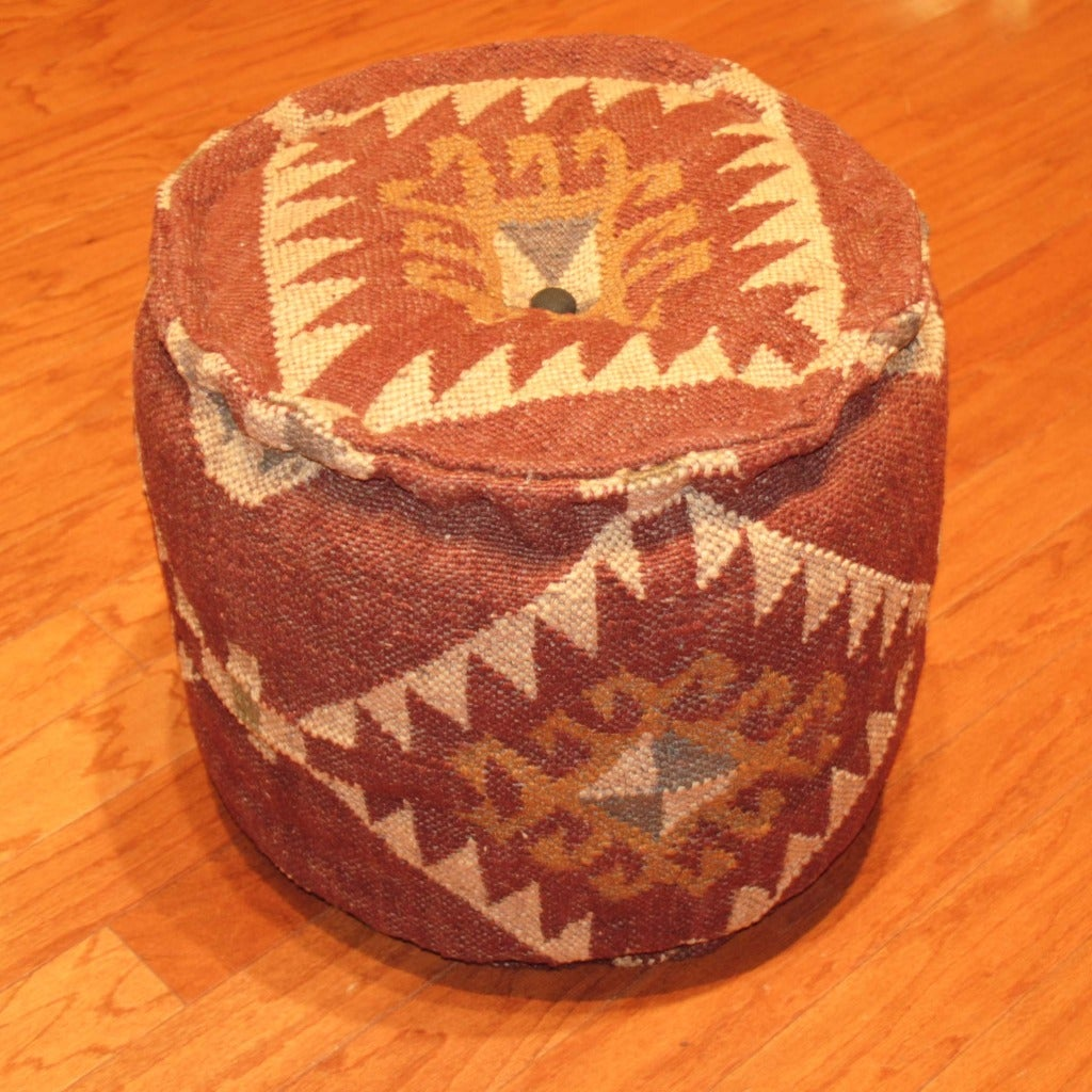 Herat Oriental Handmade Kilim Puff Ottoman (India)