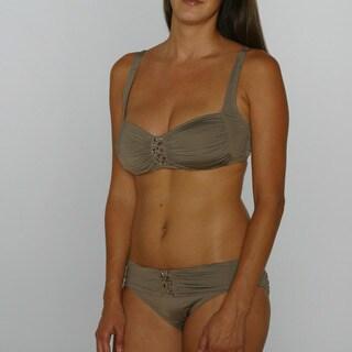 Jantzen Walnut Classic Bra Top and Mid Waist Bikini