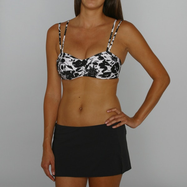 Jantzen Strike a Posie Classic Bra Top and Black Swim Mini Bottom
